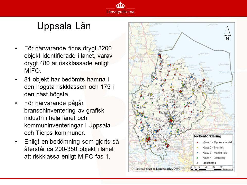 Uppsala Län För närvarande finns drygt 3200 objekt identifierade i länet, varav drygt 480 är riskklassade enligt MIFO.