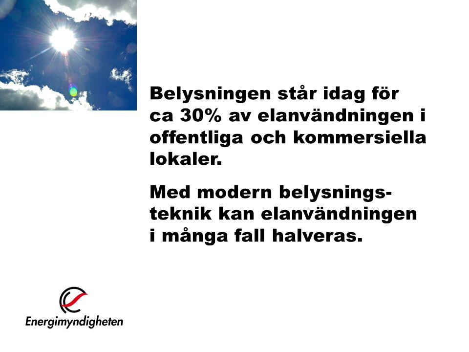 Belysningen står idag för ca 30% av elanvändningen i offentliga och kommersiella lokaler.