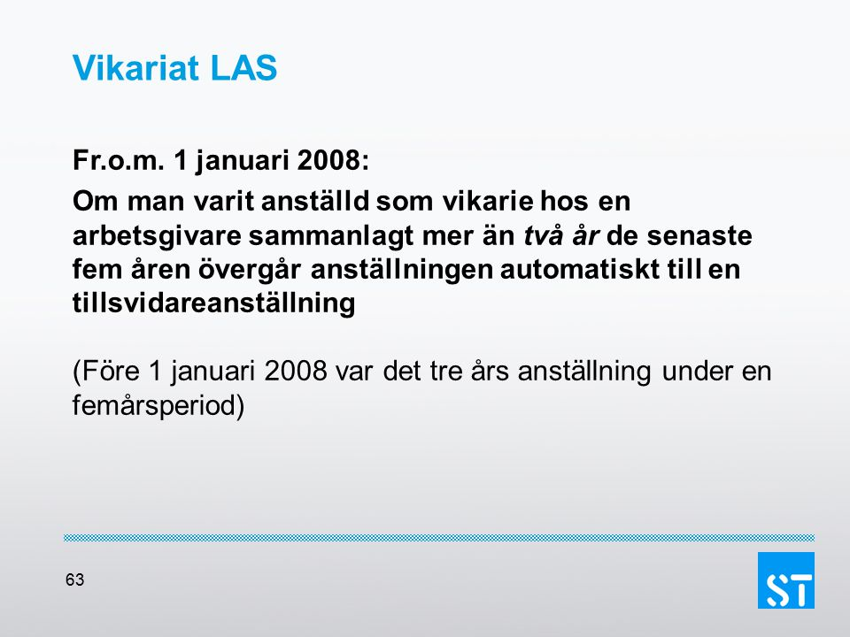 Vikariat LAS Fr.o.m. 1 januari 2008: