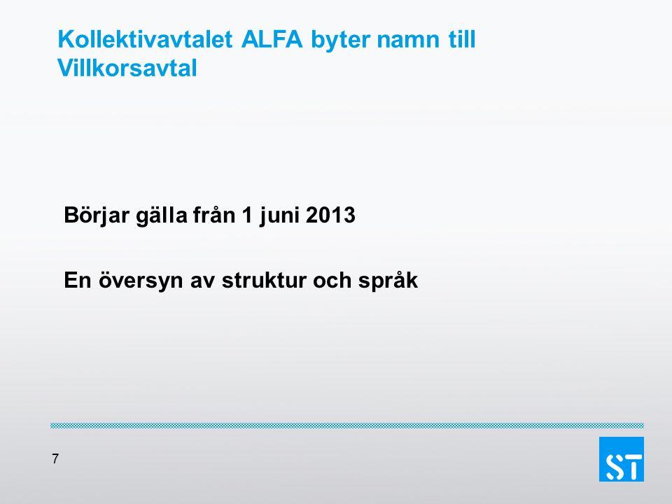 Kollektivavtalet ALFA byter namn till Villkorsavtal