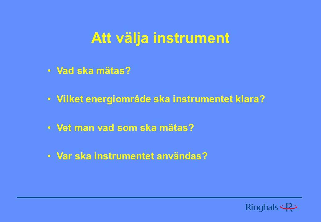Att välja instrument Vad ska mätas