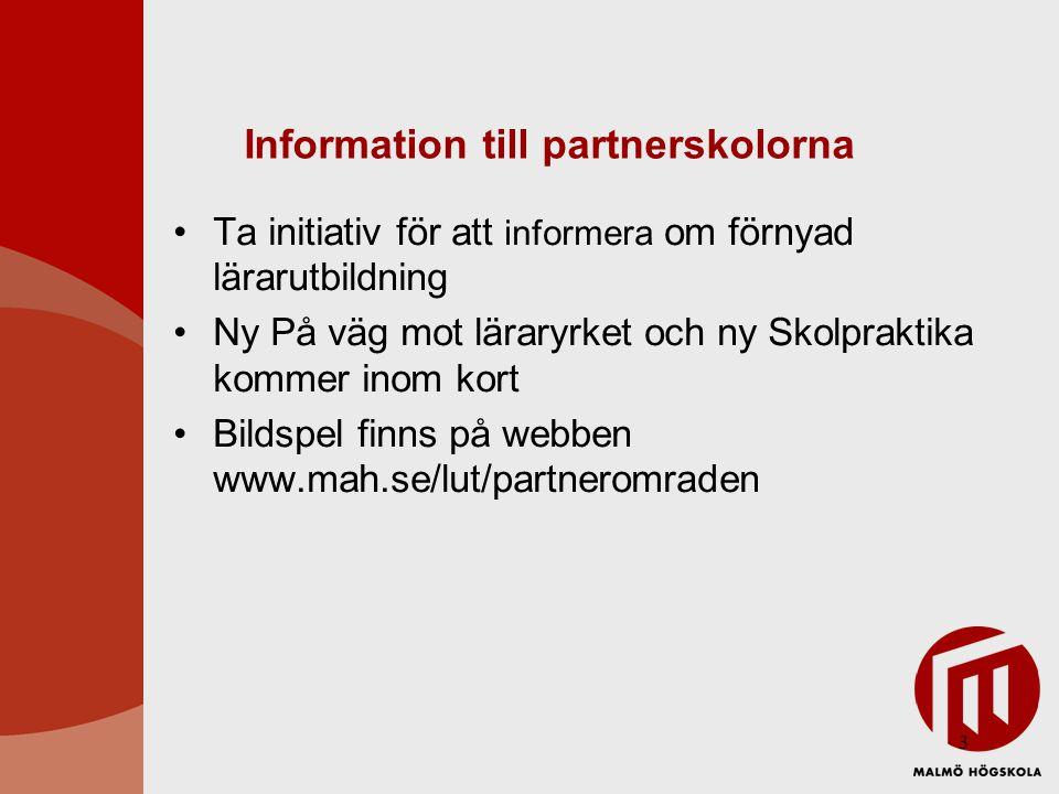 Information till partnerskolorna