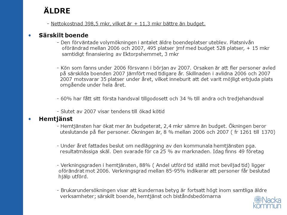 ÄLDRE - Nettokostnad 398,5 mkr, vilket är + 11,3 mkr bättre än budget.