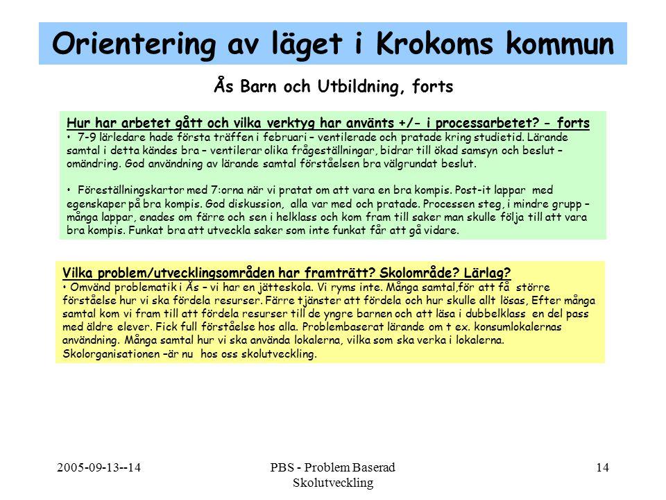Orientering av läget i Krokoms kommun Ås Barn och Utbildning, forts