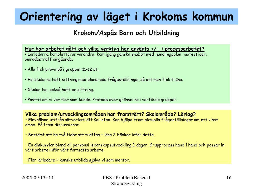 Orientering av läget i Krokoms kommun Krokom/Aspås Barn och Utbildning