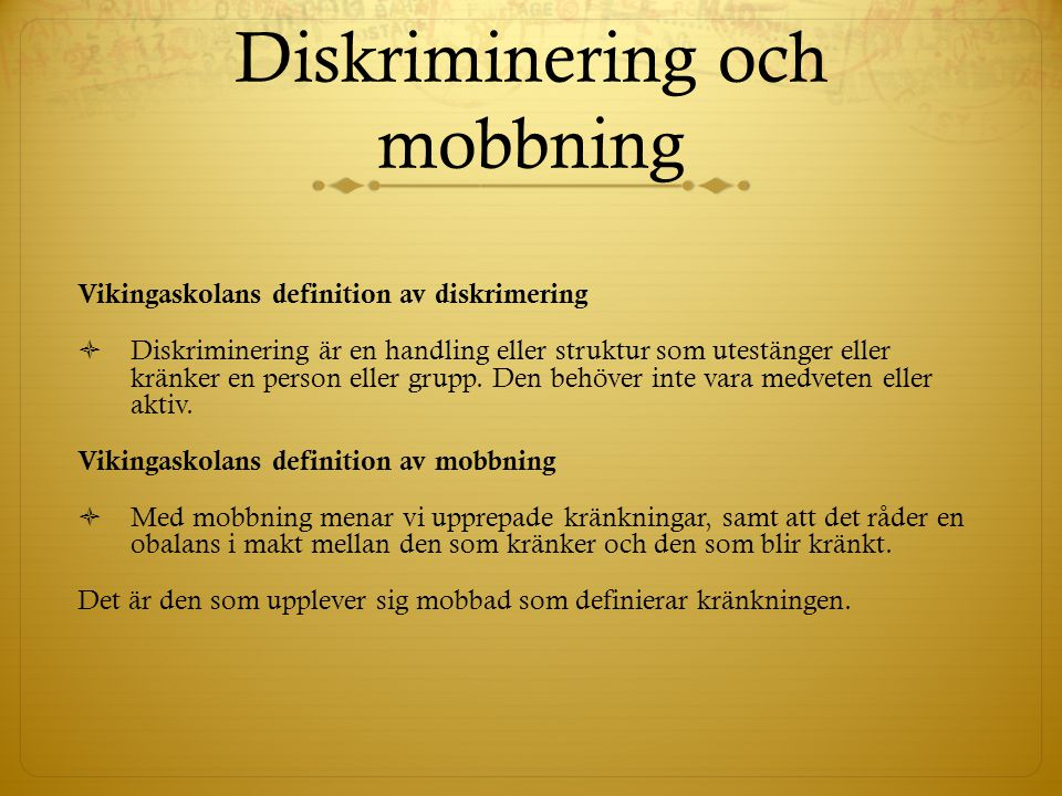 Diskriminering och mobbning