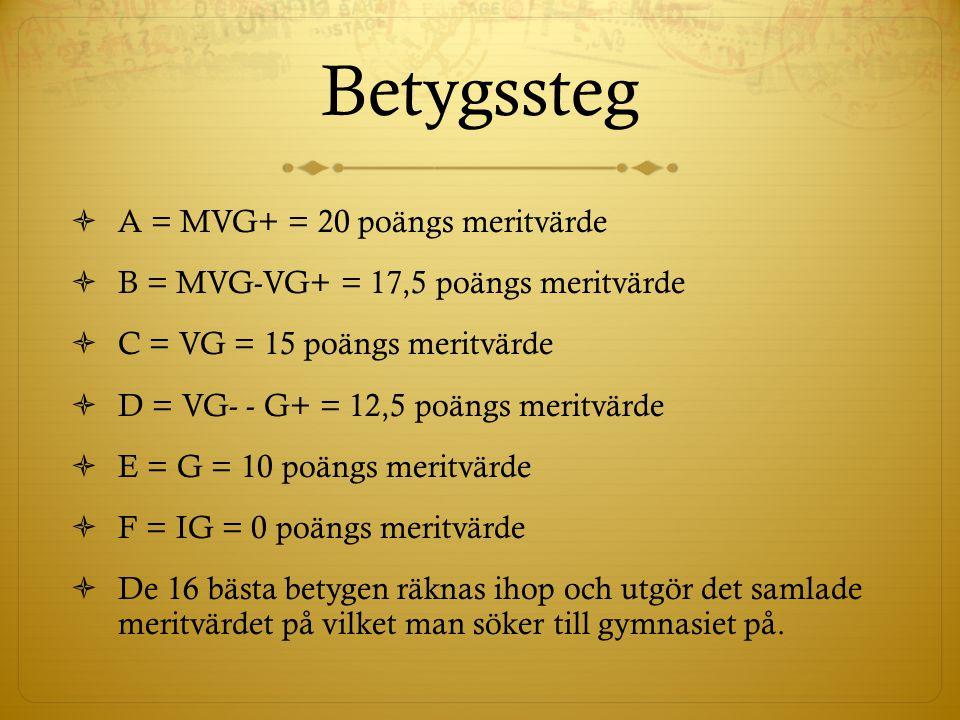Betygssteg A = MVG+ = 20 poängs meritvärde