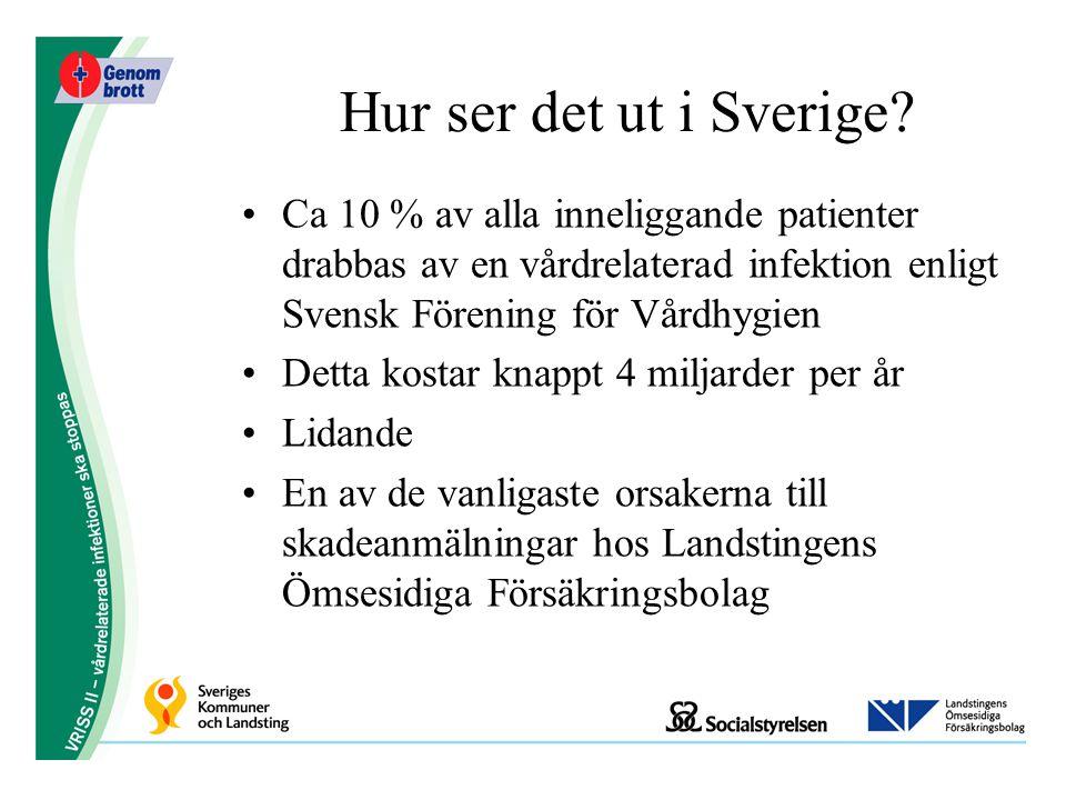 Hur ser det ut i Sverige Ca 10 % av alla inneliggande patienter drabbas av en vårdrelaterad infektion enligt Svensk Förening för Vårdhygien.