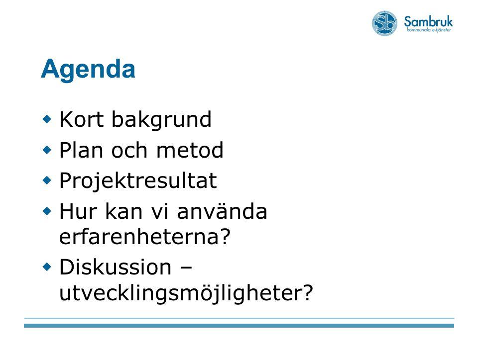 Agenda Kort bakgrund Plan och metod Projektresultat
