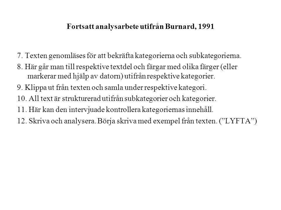 Fortsatt analysarbete utifrån Burnard, 1991