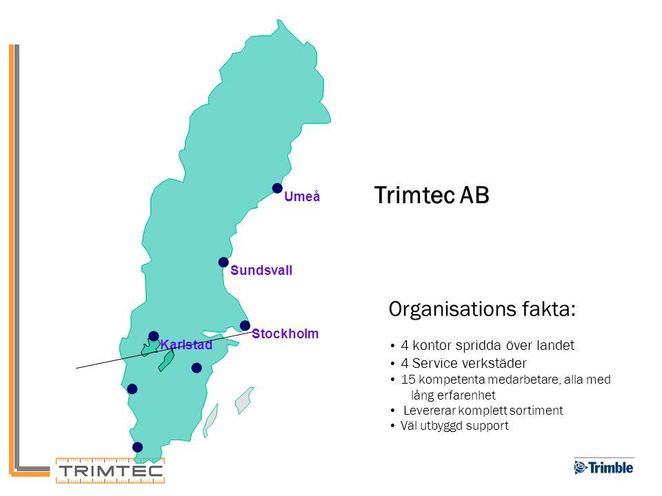 •Umeå •Sundsvall •Stockholm •Karlstad • Trimtec AB