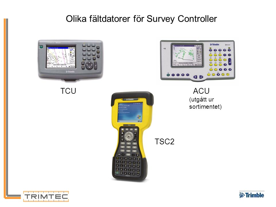 Olika fältdatorer för Survey Controller