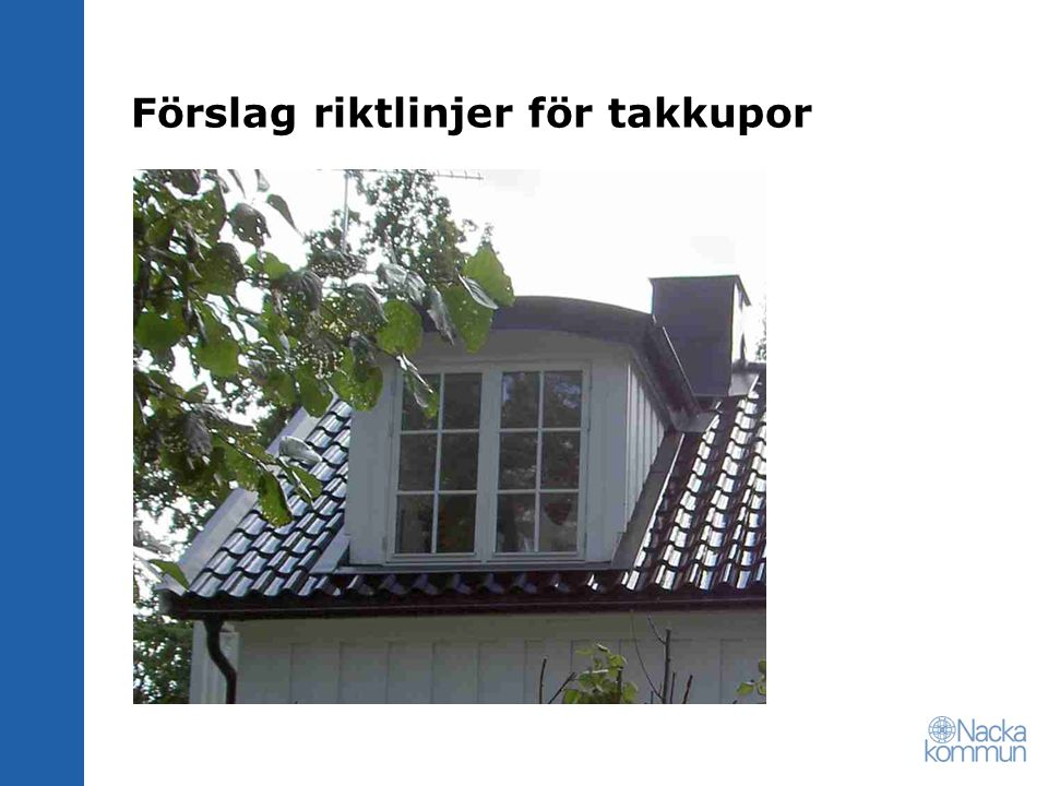 Förslag riktlinjer för takkupor
