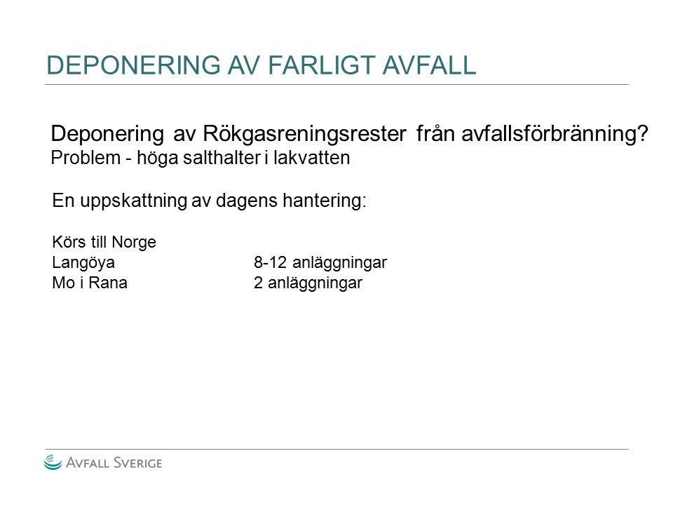 DEPONERING AV FARLIGT AVFALL