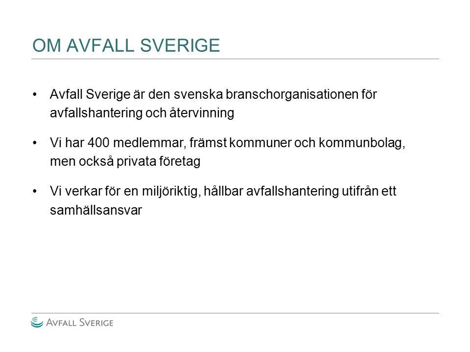 OM AVFALL SVERIGE Avfall Sverige är den svenska branschorganisationen för avfallshantering och återvinning.