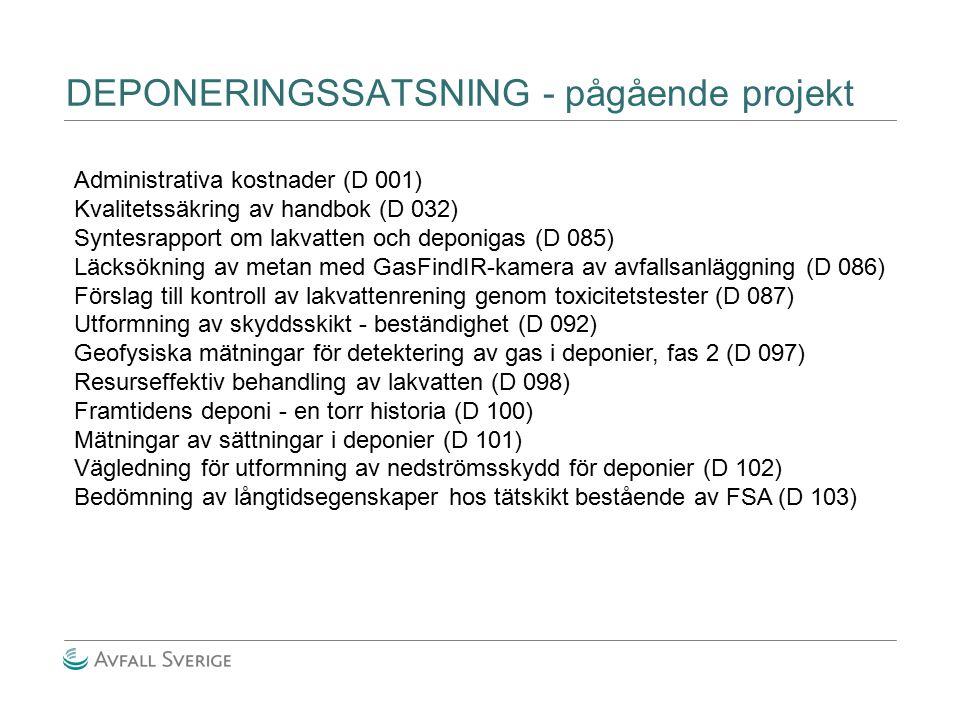 DEPONERINGSSATSNING - pågående projekt