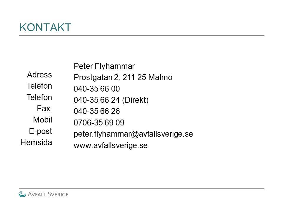 KONTAKT Peter Flyhammar Prostgatan 2, 211 25 Malmö Adress 040-35 66 00