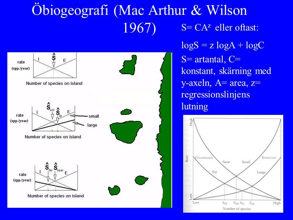 Öbiogeografi (Mac Arthur & Wilson 1967)