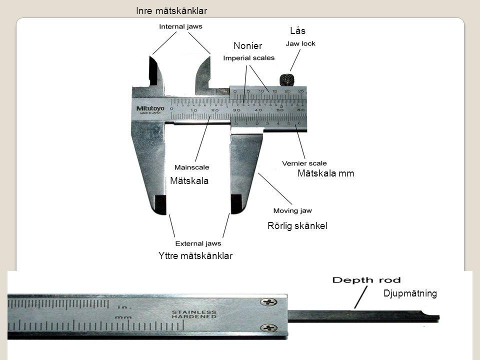 Inre mätskänklar Lås Nonier Mätskala mm Mätskala Rörlig skänkel Yttre mätskänklar Djupmätning