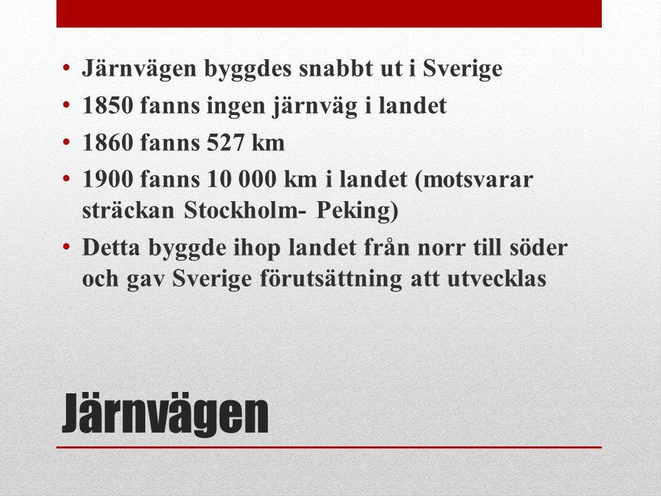 Järnvägen Järnvägen byggdes snabbt ut i Sverige