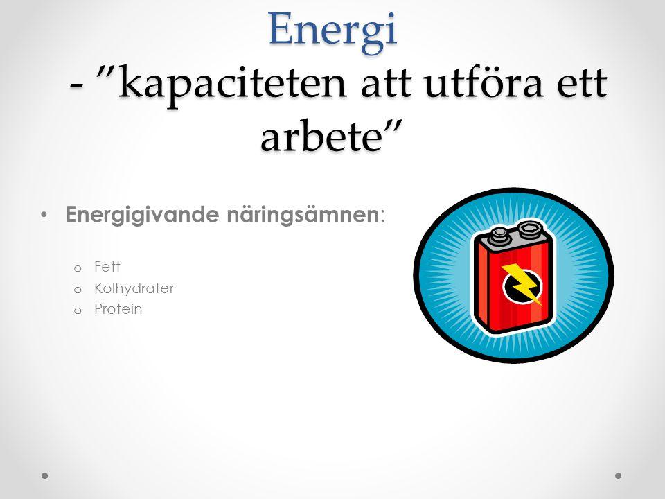 Energi - kapaciteten att utföra ett arbete