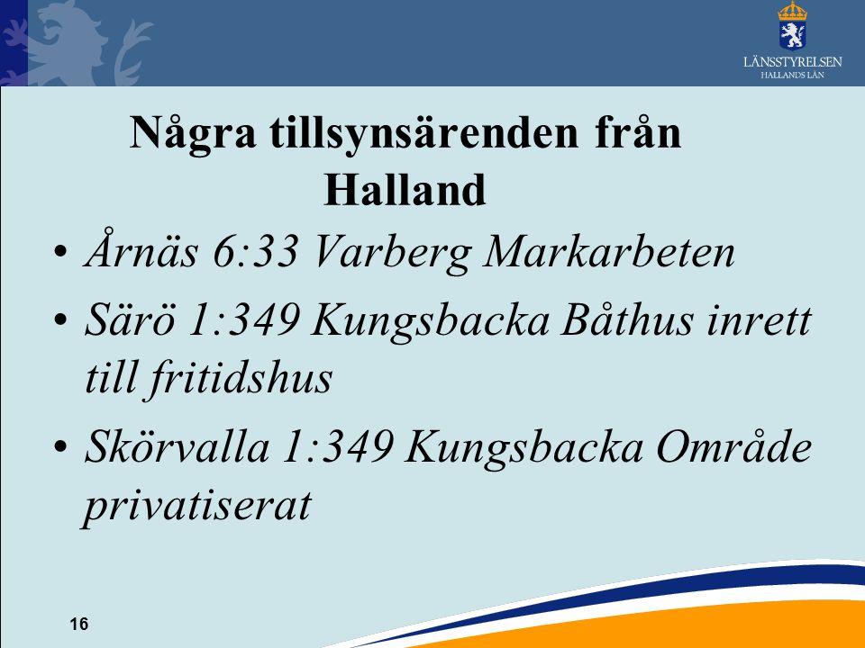 Några tillsynsärenden från Halland