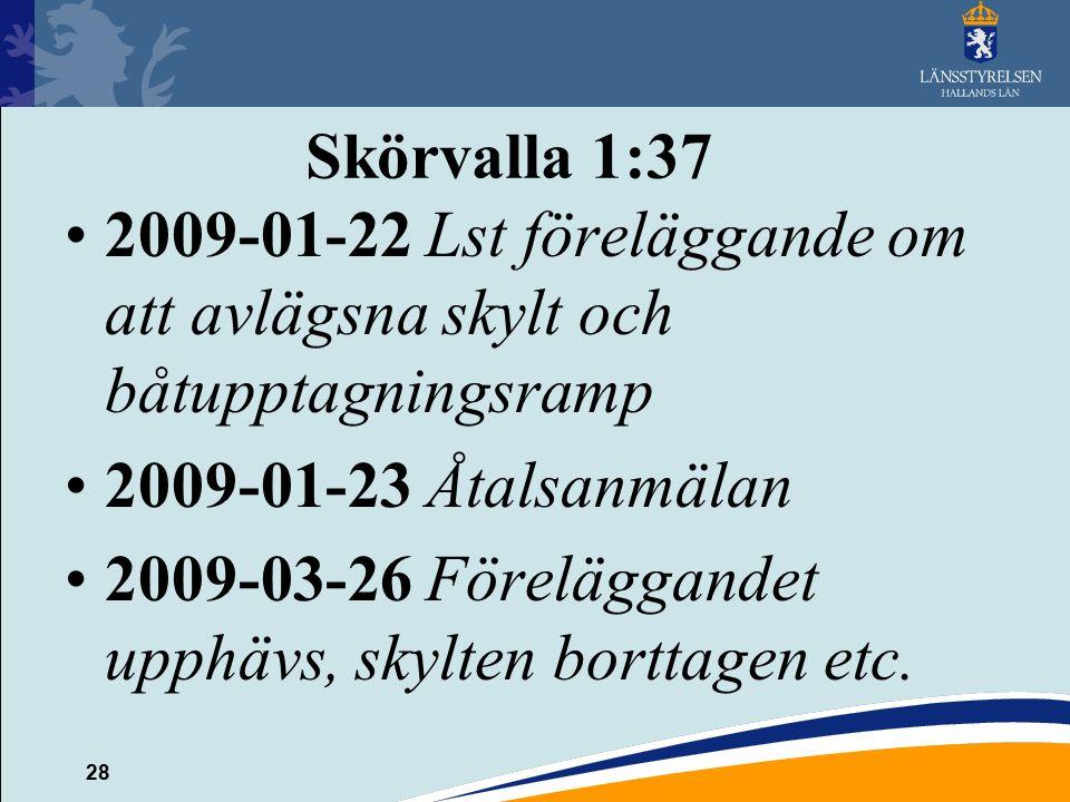 Skörvalla 1:37 2009-01-22 Lst föreläggande om att avlägsna skylt och båtupptagningsramp. 2009-01-23 Åtalsanmälan.