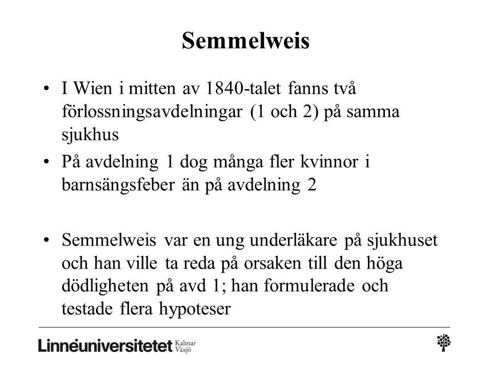2010-03-032010-03-03 Semmelweis. I Wien i mitten av 1840-talet fanns två förlossningsavdelningar (1 och 2) på samma sjukhus.