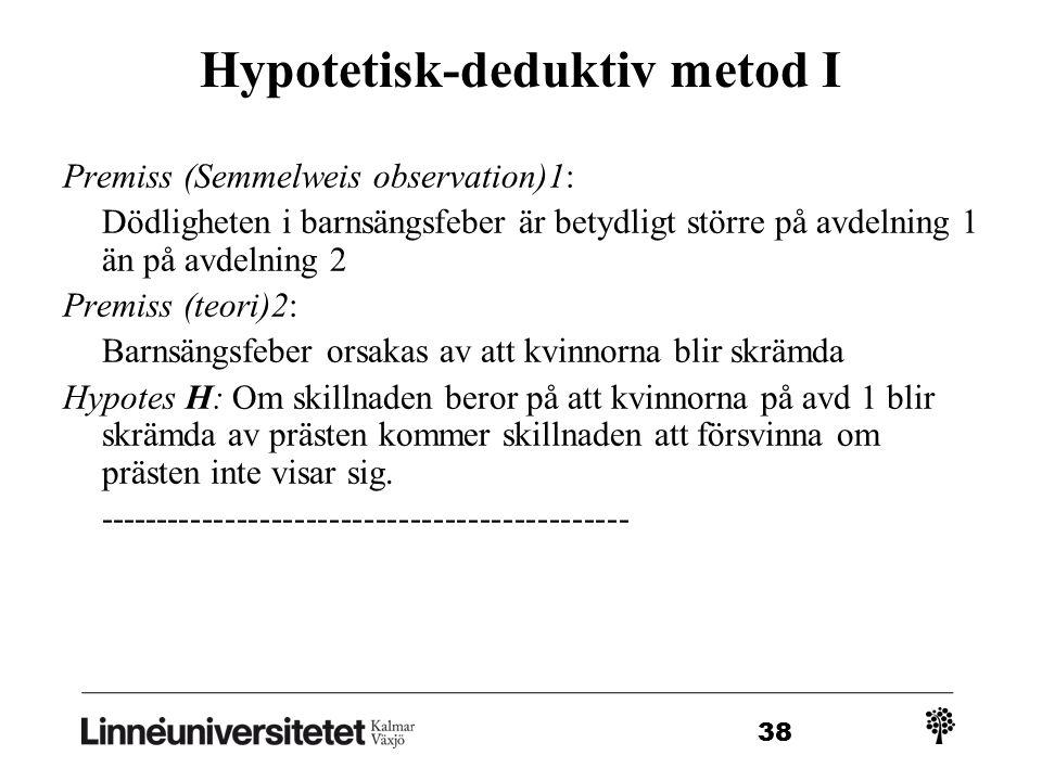 Hypotetisk-deduktiv metod I