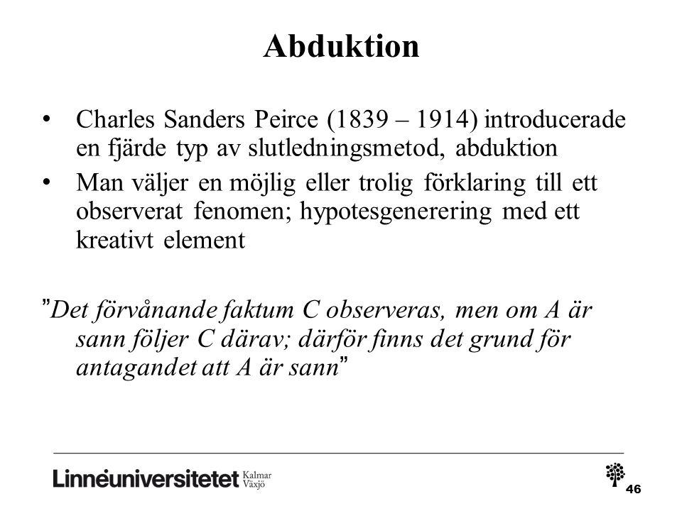 Abduktion Charles Sanders Peirce (1839 – 1914) introducerade en fjärde typ av slutledningsmetod, abduktion.