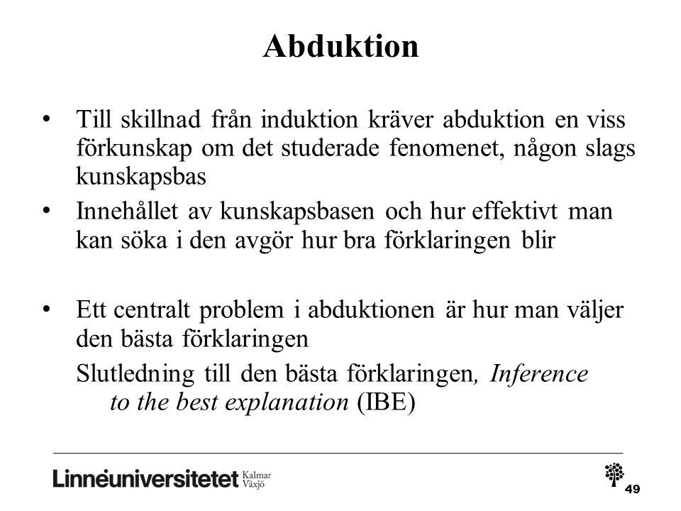 Abduktion Till skillnad från induktion kräver abduktion en viss förkunskap om det studerade fenomenet, någon slags kunskapsbas.