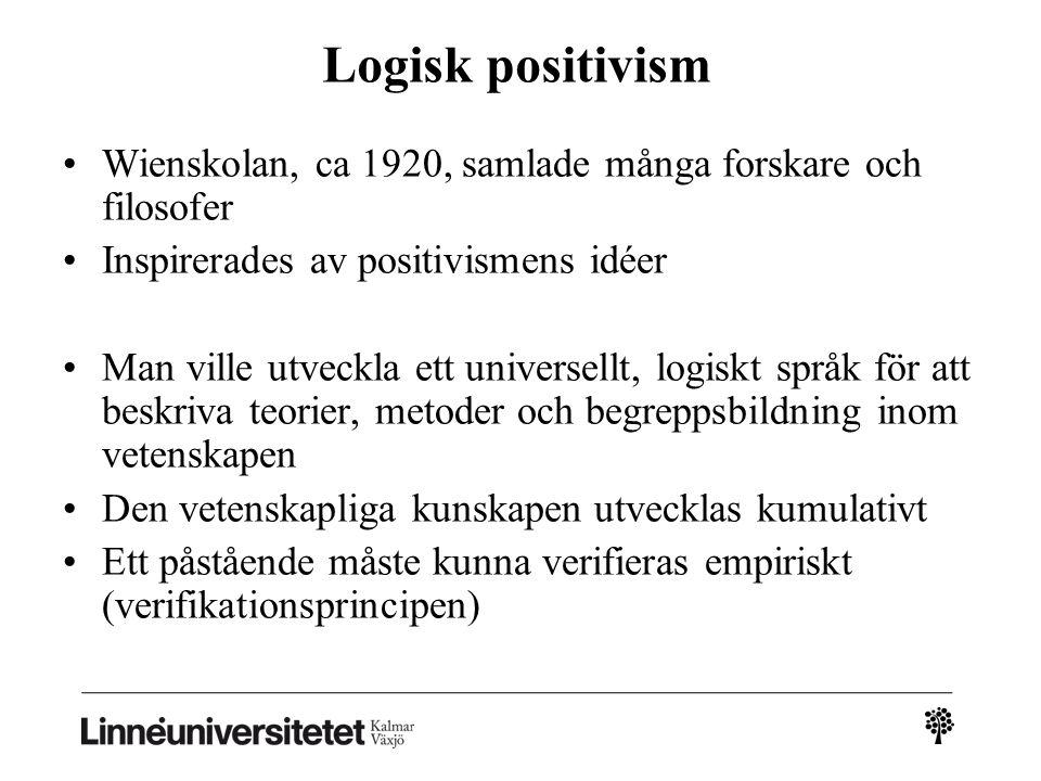 2010-03-032010-03-03 Logisk positivism. Wienskolan, ca 1920, samlade många forskare och filosofer.