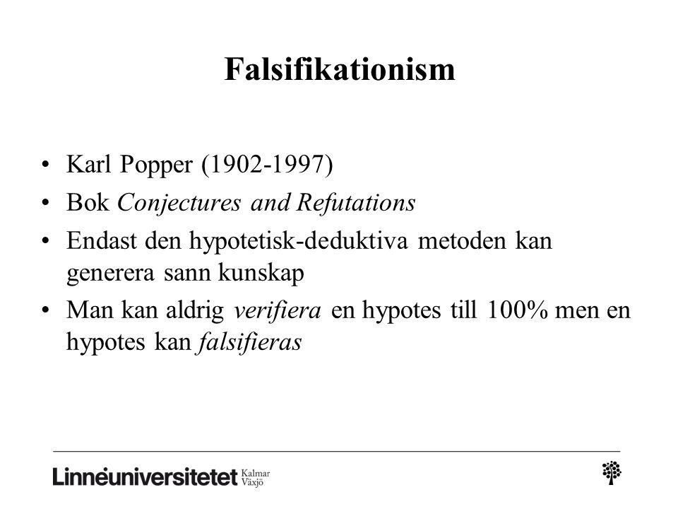 Falsifikationism Karl Popper (1902-1997)
