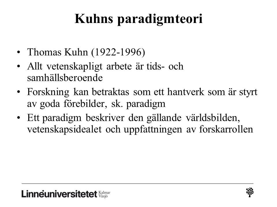 Kuhns paradigmteori Thomas Kuhn (1922-1996)