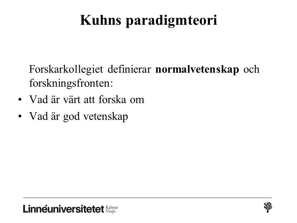 Kuhns paradigmteori Vad är värt att forska om Vad är god vetenskap
