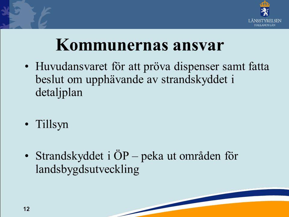 Kommunernas ansvar Huvudansvaret för att pröva dispenser samt fatta beslut om upphävande av strandskyddet i detaljplan.