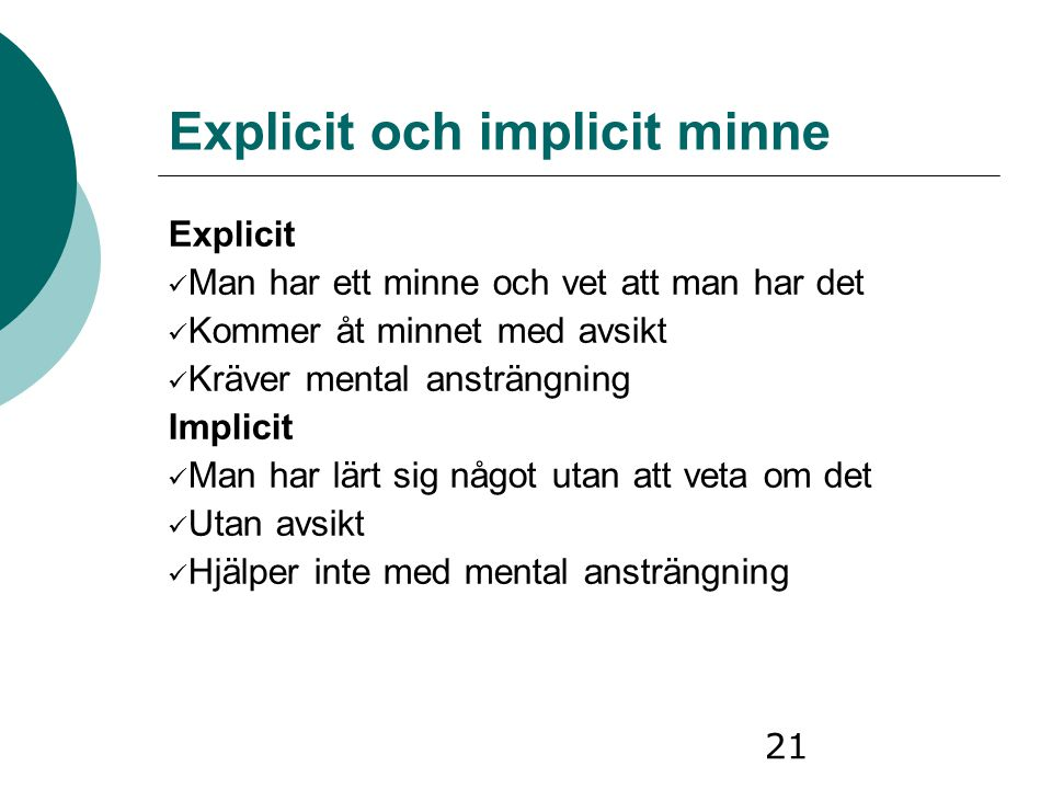 Explicit och implicit minne