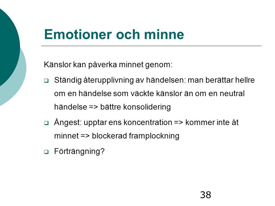 Emotioner och minne Känslor kan påverka minnet genom: