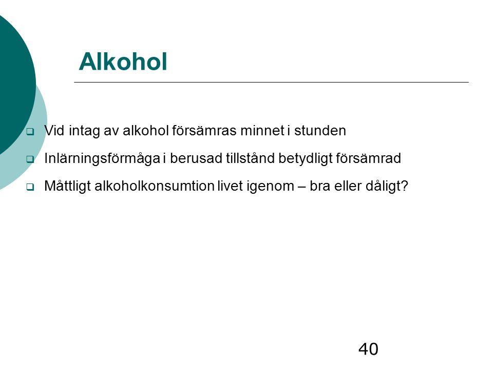 Alkohol Vid intag av alkohol försämras minnet i stunden