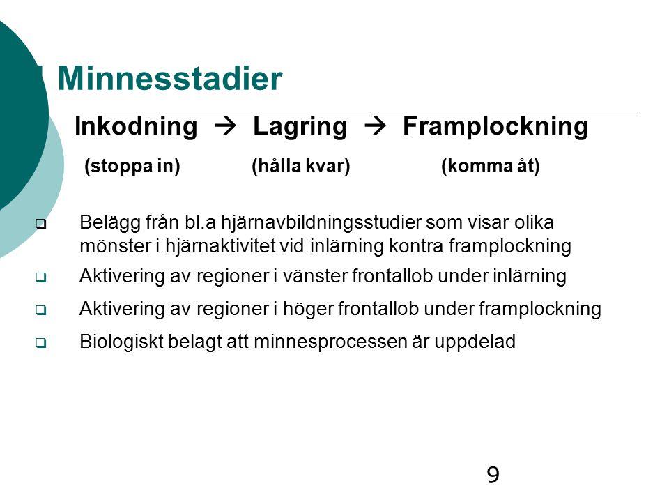 Inkodning  Lagring  Framplockning