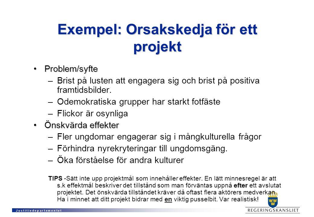 Exempel: Orsakskedja för ett projekt