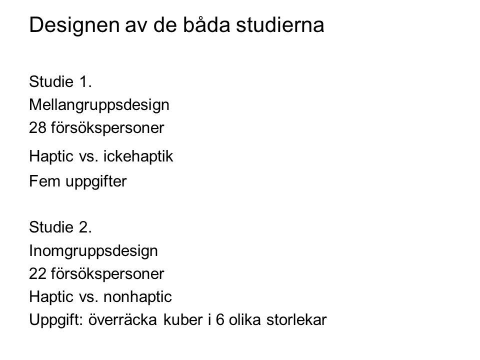 Designen av de båda studierna