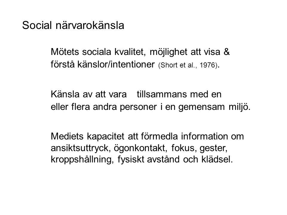 Social närvarokänsla Mötets sociala kvalitet, möjlighet att visa & förstå känslor/intentioner (Short et al., 1976).