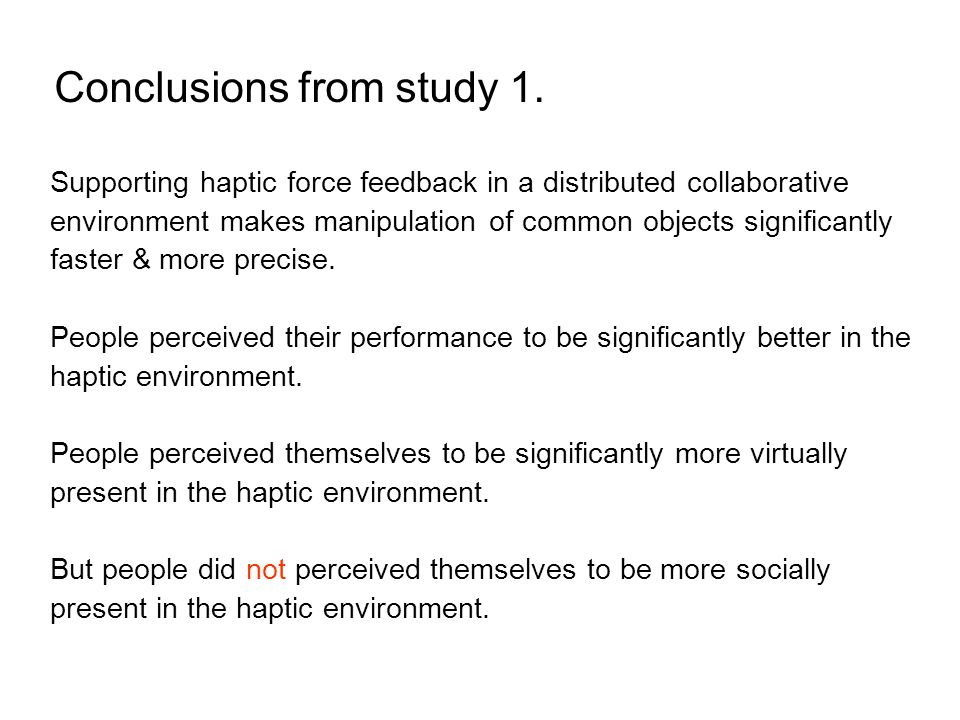 Conclusions from study 1.