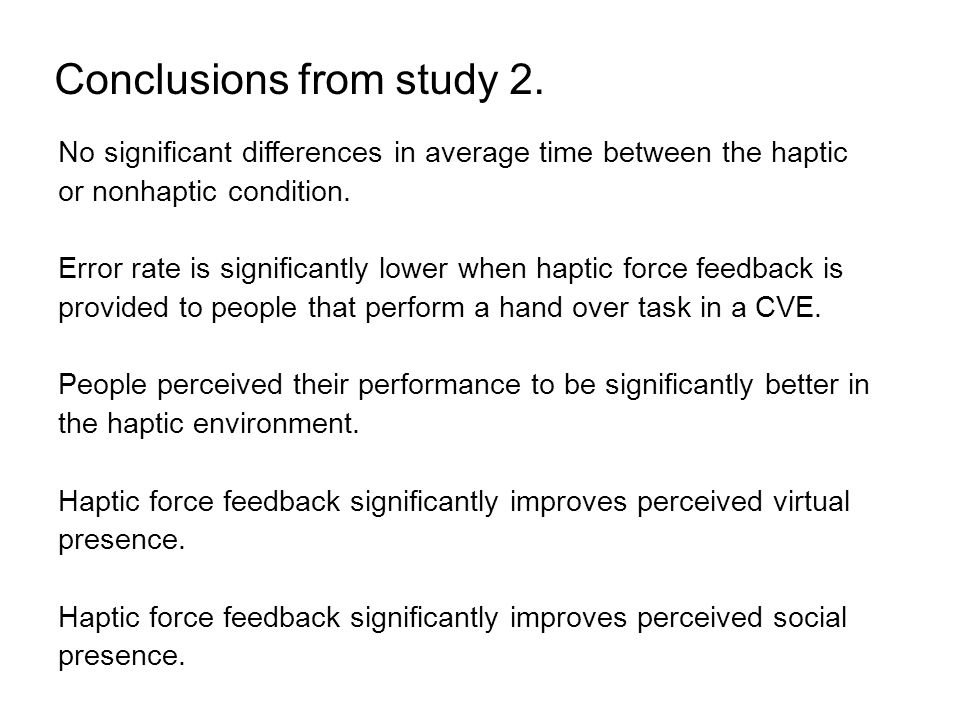 Conclusions from study 2.