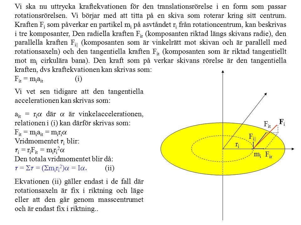 Vi ska nu uttrycka kraftekvationen för den translationsrörelse i en form som passar rotationsrörelsen. Vi börjar med att titta på en skiva som roterar kring sitt centrum. Kraften Fi som påverkar en partikel mi på asvtåndet ri från rotationcentrum, kan beskrivas i tre komposanter, Den radiella kraften Fir (komposanten riktad längs skivans radie), den parallella kraften Fi|| (komposanten som är vinkelrätt mot skivan och är parallell med rotationsaxeln) och den tangentiella kraften Fit (komposanten som är riktad tangentiellt mot mi cirkulära bana). Den kraft som på verkar skivans rörelse är den tangentiella kraften, dvs kraftekvationen kan skrivas som: