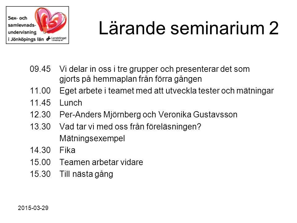 Lärande seminarium 2 09.45 Vi delar in oss i tre grupper och presenterar det som gjorts på hemmaplan från förra gången.
