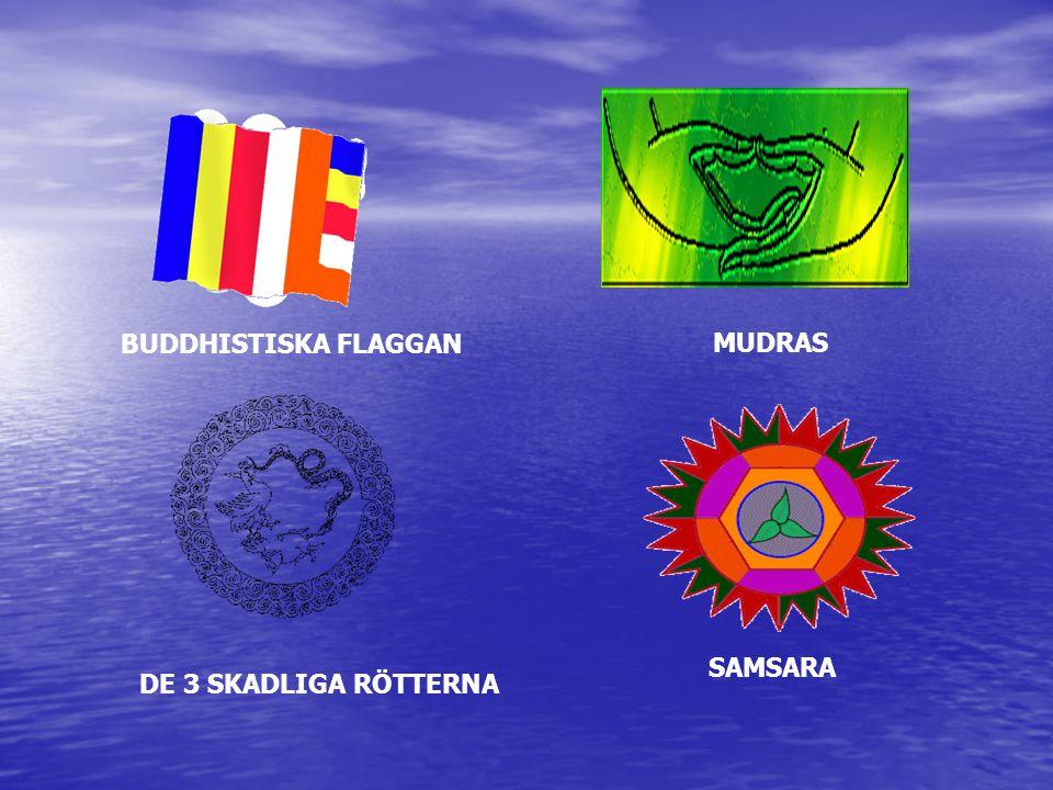 BUDDHISTISKA FLAGGAN MUDRAS SAMSARA DE 3 SKADLIGA RÖTTERNA