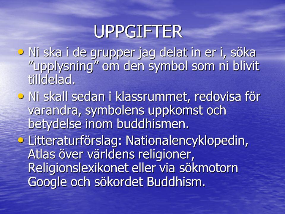 UPPGIFTER Ni ska i de grupper jag delat in er i, söka upplysning om den symbol som ni blivit tilldelad.