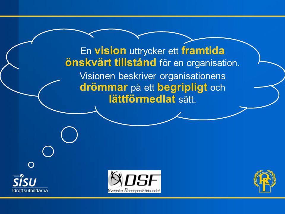 En vision uttrycker ett framtida önskvärt tillstånd för en organisation.